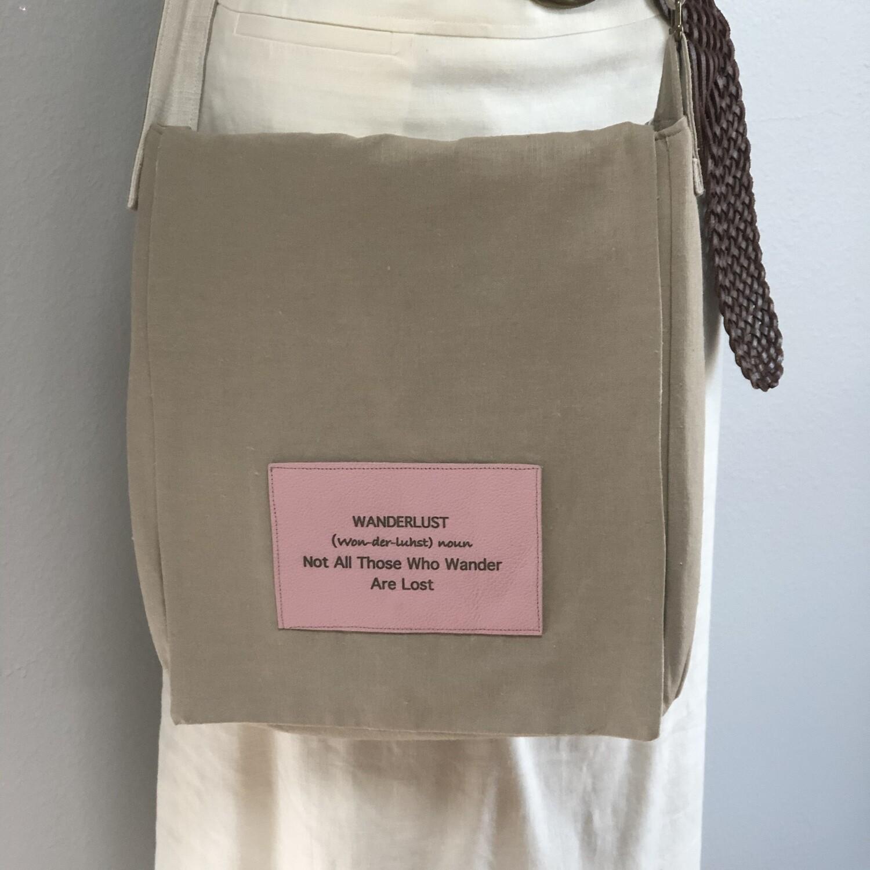 Tan Linen Crossbody Computer Messenger Bag XLG