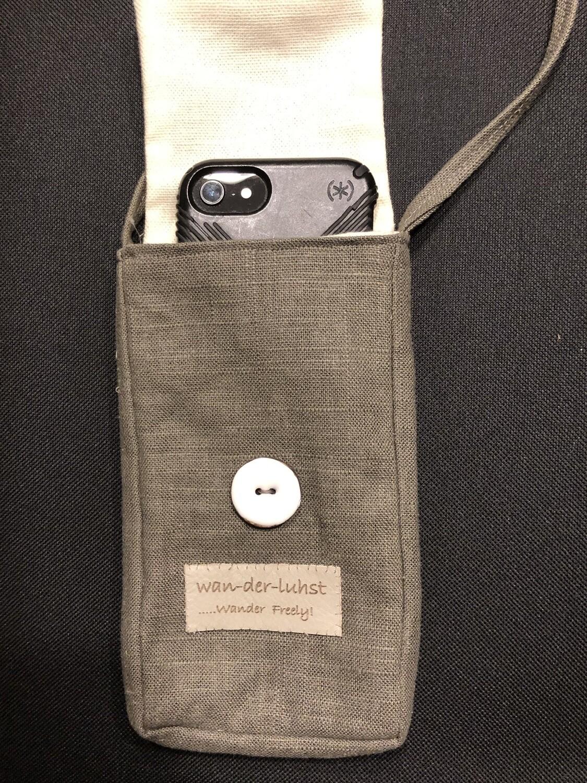 "Crossbody Linen Phone Bag ""Wanderlust"""