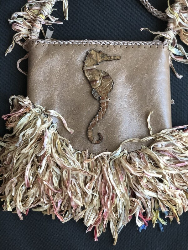 Crossbody Seahorse Handbag With Fringe