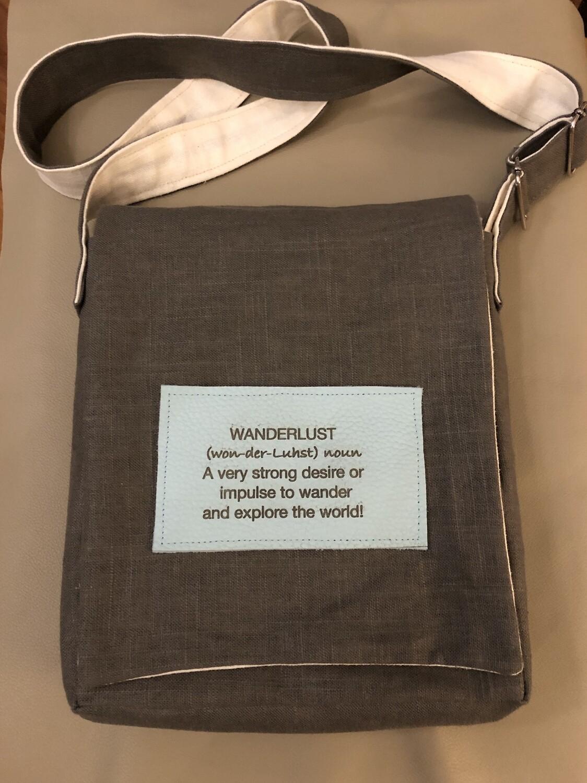 Wanderlust Brown Linen Messenger Bag Medium