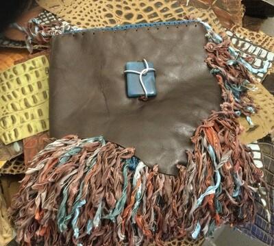 BoHo Burgundy & Teal Fringe Leather Handbag