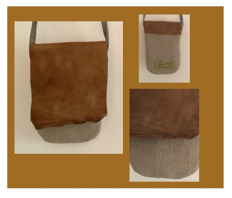 Linen & Leather Crossbody Phone Bag