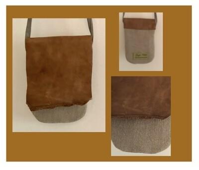 Linen & Leather Crossbody Phone Bag