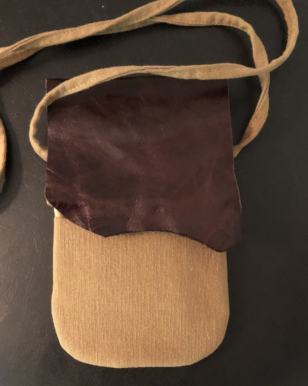 Canvas & Distressed Leather Phone Bag