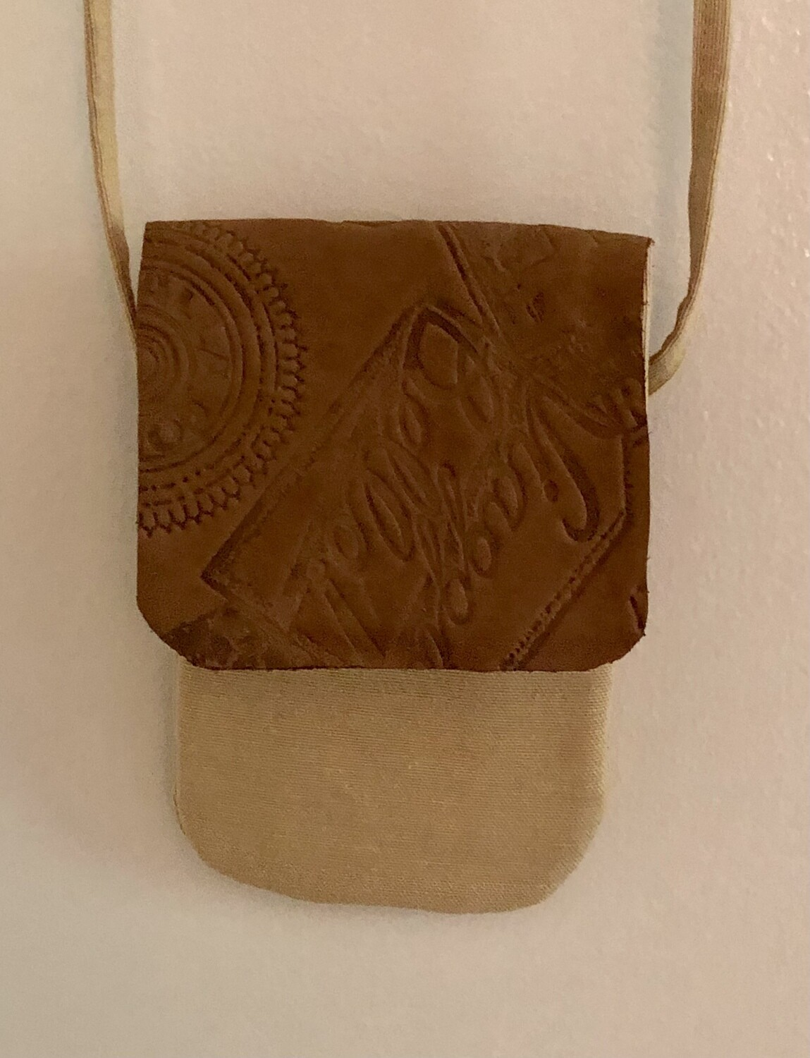 Canvas & Embossed Leather Phone Bag
