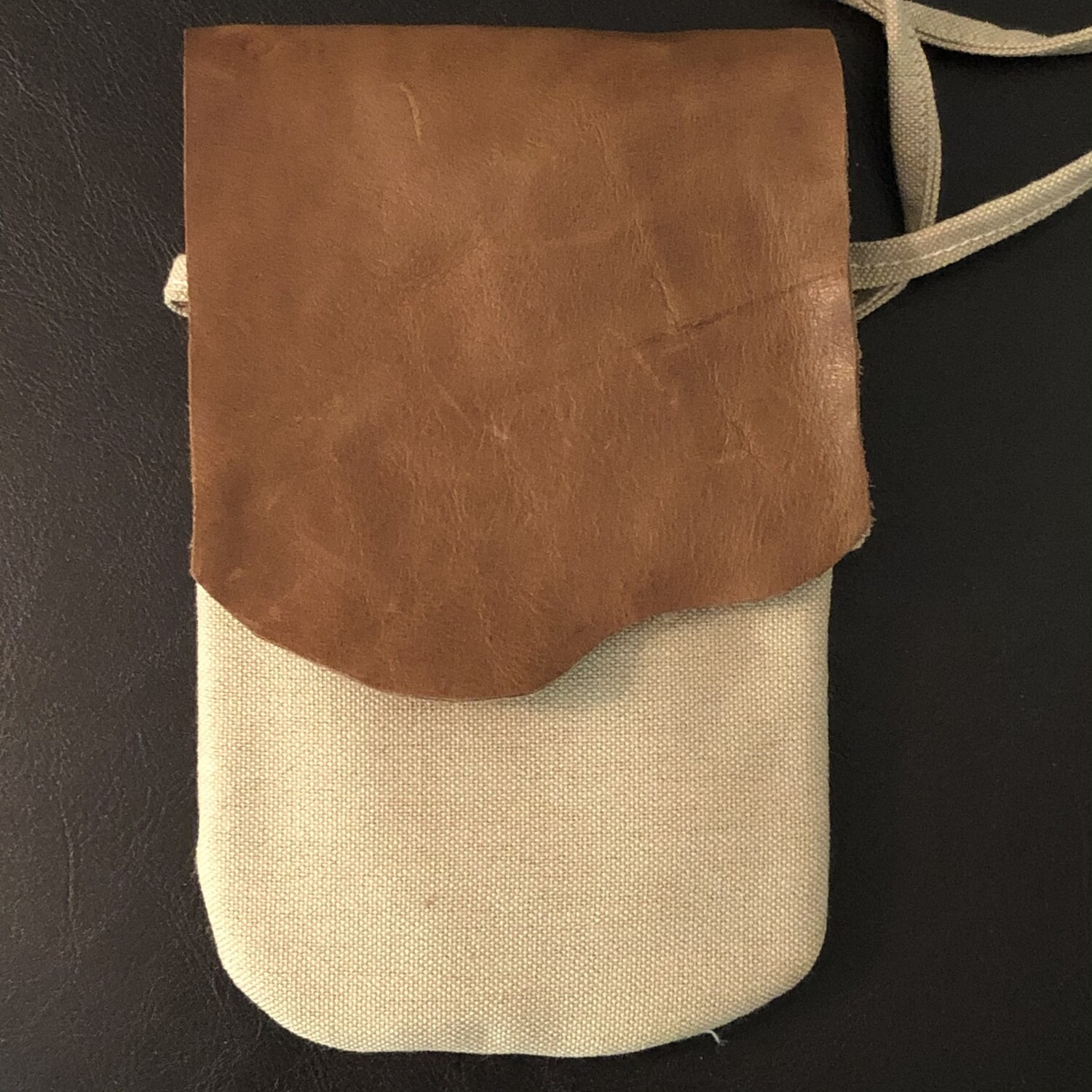 Canvas & Brown Leather Phone Bag