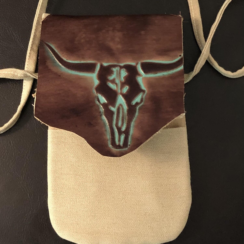 Canvas & Leather Western Steer Phone Bag