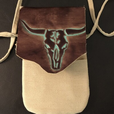 Canvas & Leather Western Steer Phone Bag