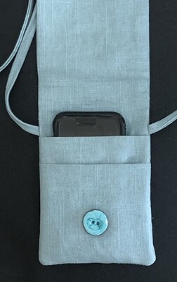 Sea Foam Blue Linen Phone Bag