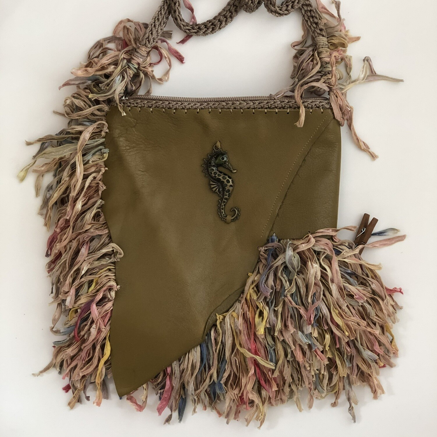 Olive Green Leather Seahorse Handbag