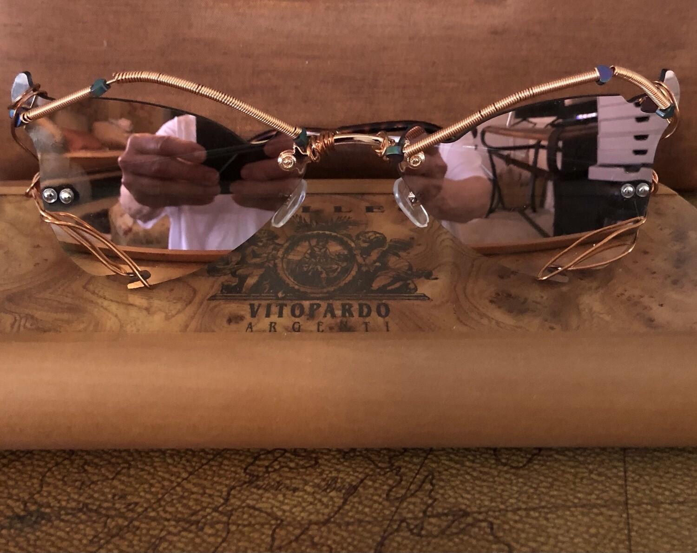 Women's Avant-garde pink mirrored sunglasses