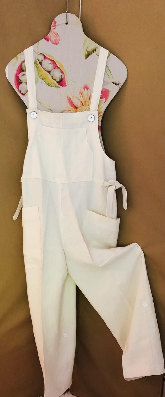 Women's White Linen Overalls
