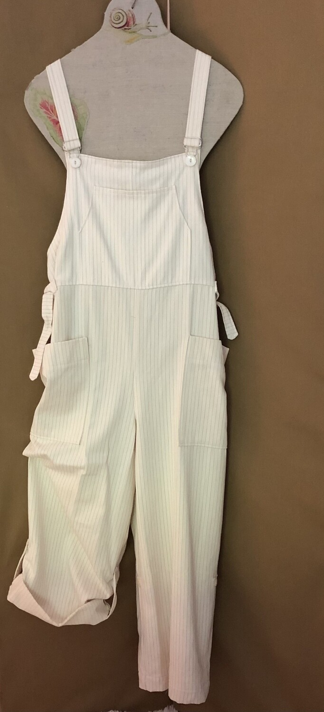 Women's Off White Pinstripe Overalls