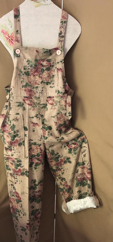 """Women's Designer Overalls """"Dungarees"""" Ralph Lauren Brown Linen"""