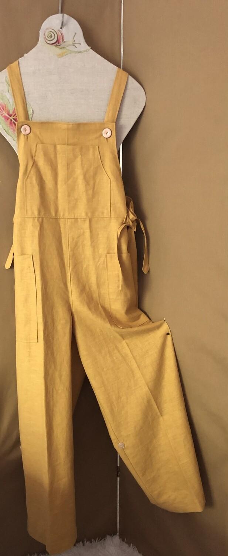 Women's Overalls Dungarees Mustard Linen Fabric