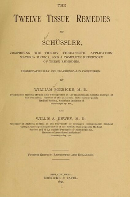 Repertory of Tissue Remedies of Schussler - vintage*