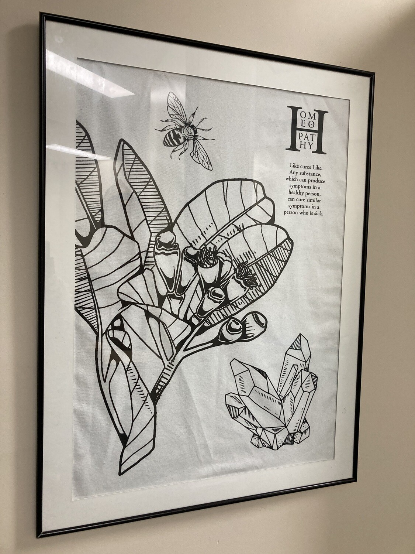 Gift: Artwork Homeopathy Tea-towel (Black and white)