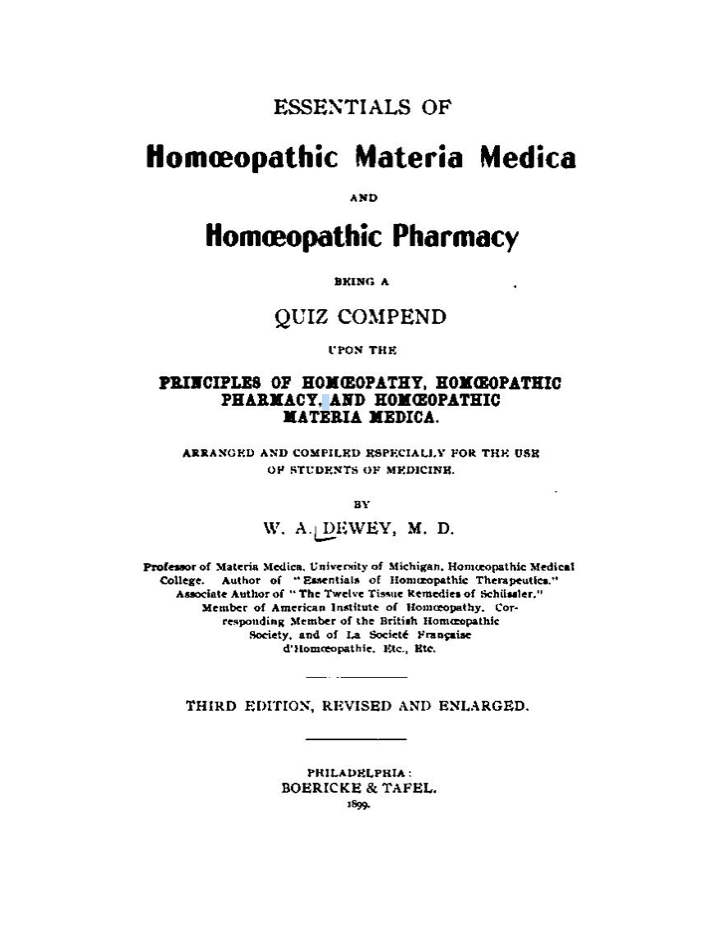 Essentials of Homoeopathic Materia Medica & Homoeopathic pharmacy*