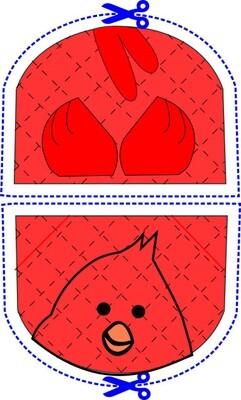 Cardinal bird animal oven mitt sewing machine pattern and tutorial