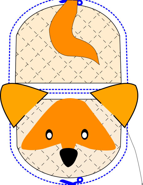 Fox animal oven mitt sewing machine pattern and tutorial