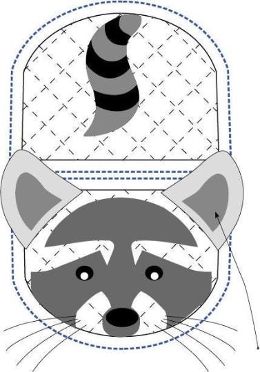 Raccoon animal oven mitt sewing machine pattern and tutorial