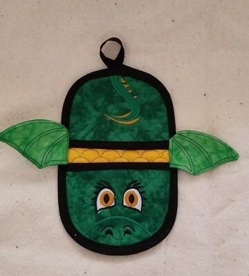 Dragon oven mitt machine embroidery in the hoop design