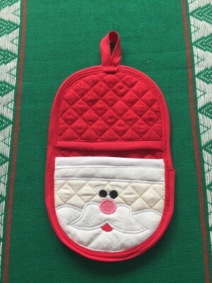 Santa oven mitt machine embroidery in the hoop design