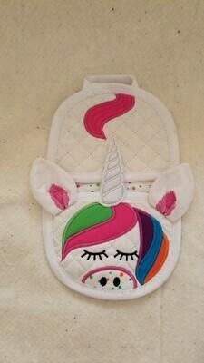 Unicorn oven mitt machine embroidery in the hoop design