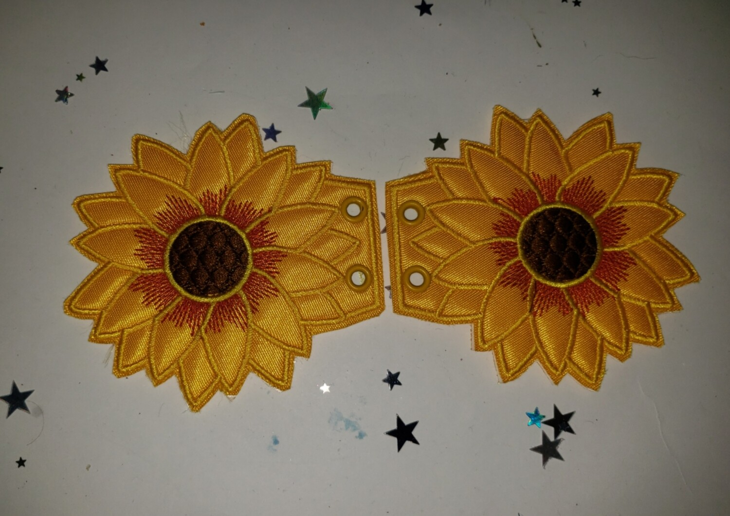 Sunflower shoe wings in custom colors and thread options