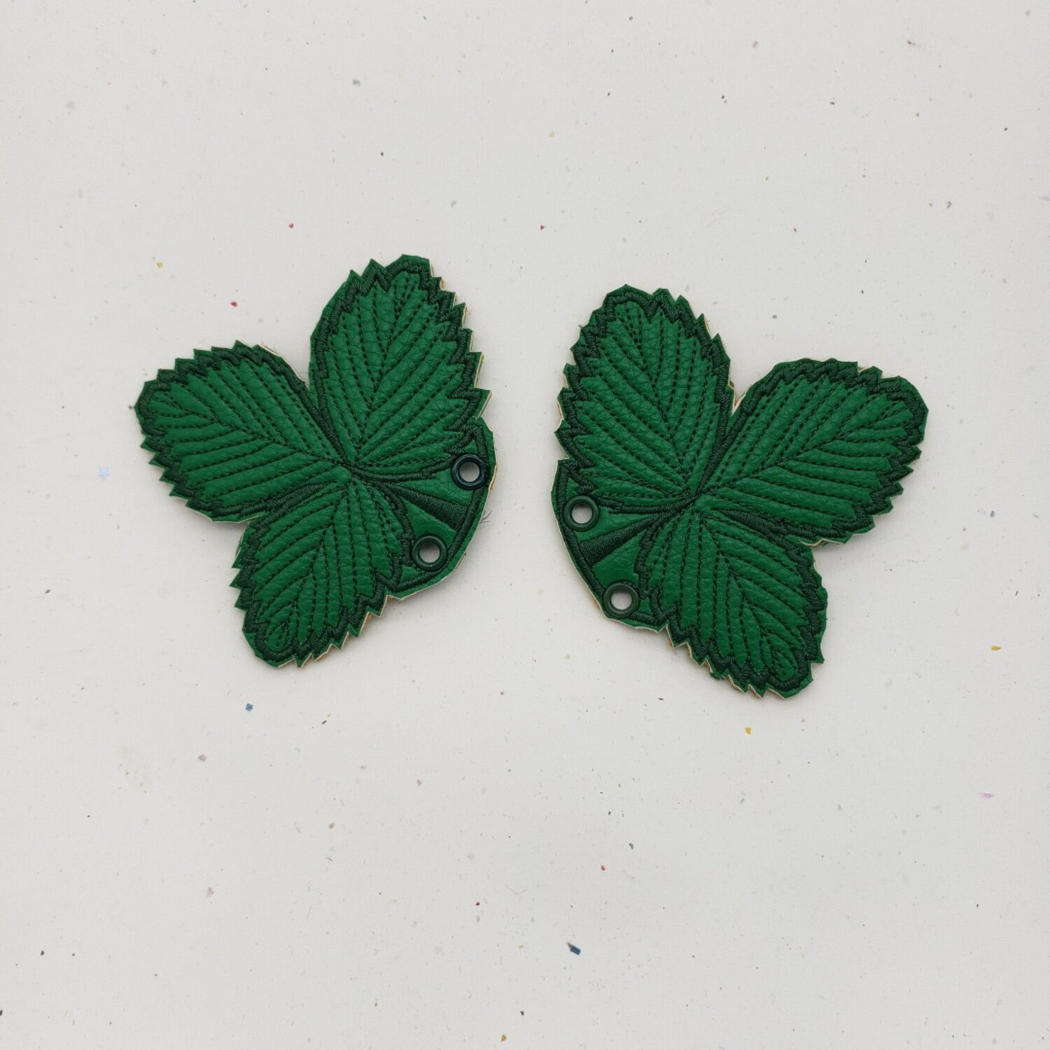 Strawberry leaf shoe wings in custom colors and thread options