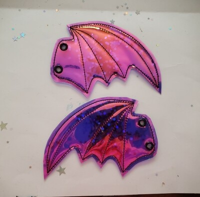 Bat transparent shoe wings with sequins