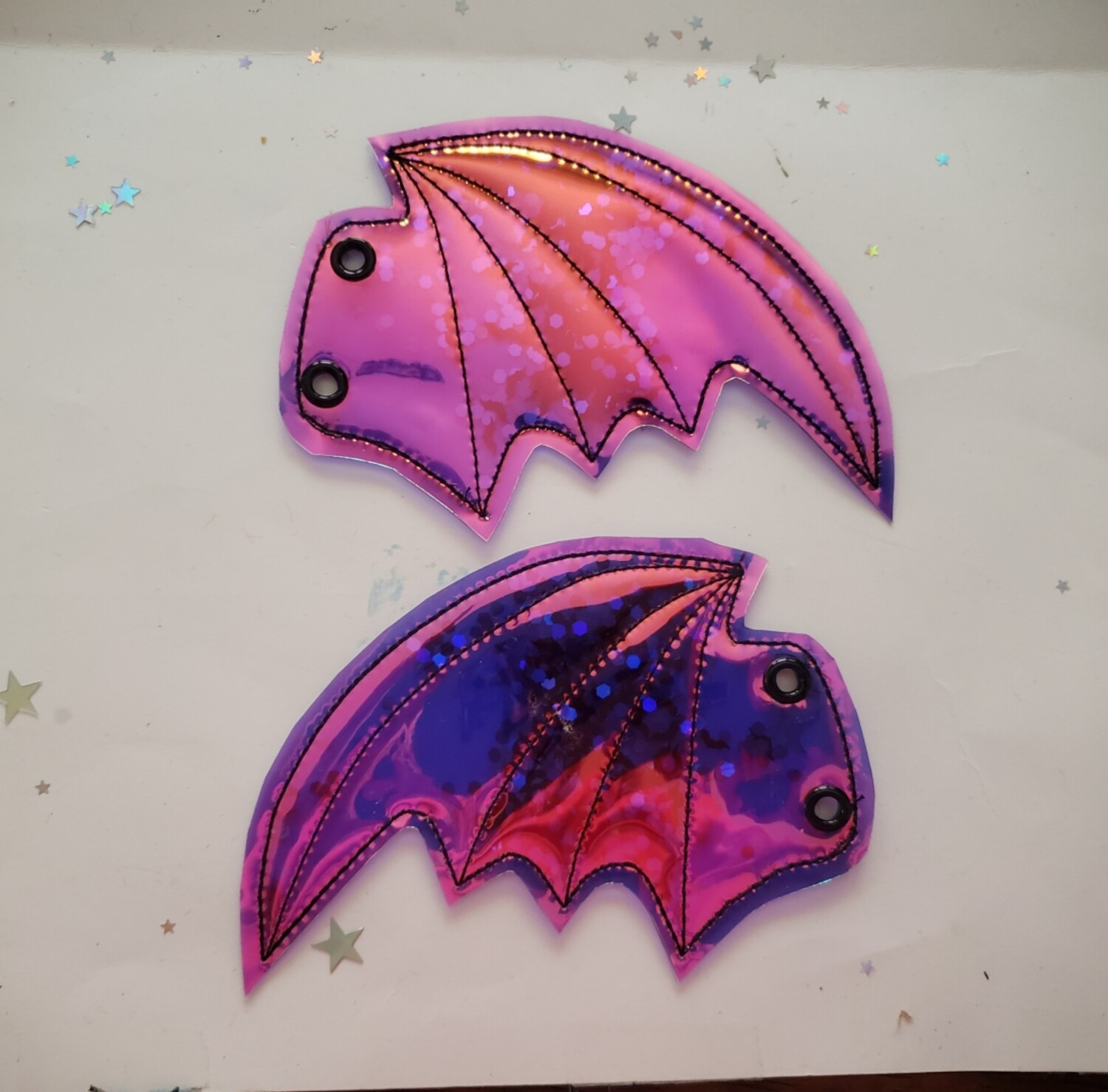 Bat transparent shoe wings with sequins rts