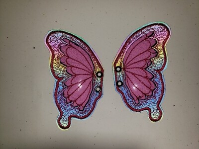 Butterfly transparent shoe wings with rainbow reflective fabric