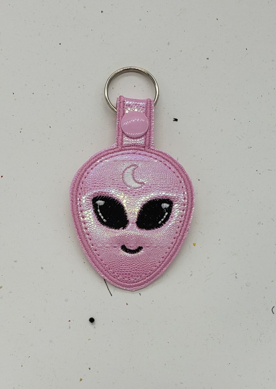 Alien pink iridescent keychain