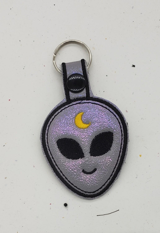 Alien silver lilac iridescent keychain