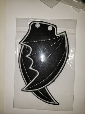 Bat skate wings in black with white stitching