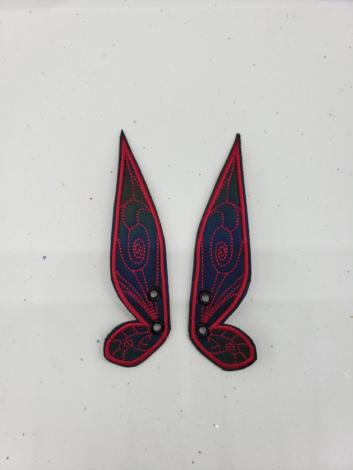Fairy wings rainbow reflective dark pink stitching skate wings