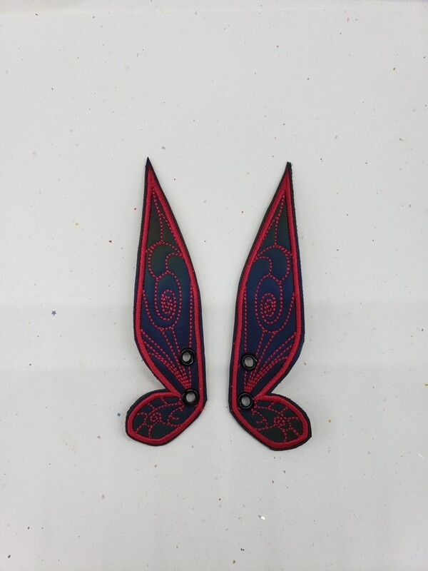 Fairy wings rainbow reflective dark pink stitching skate wings rts