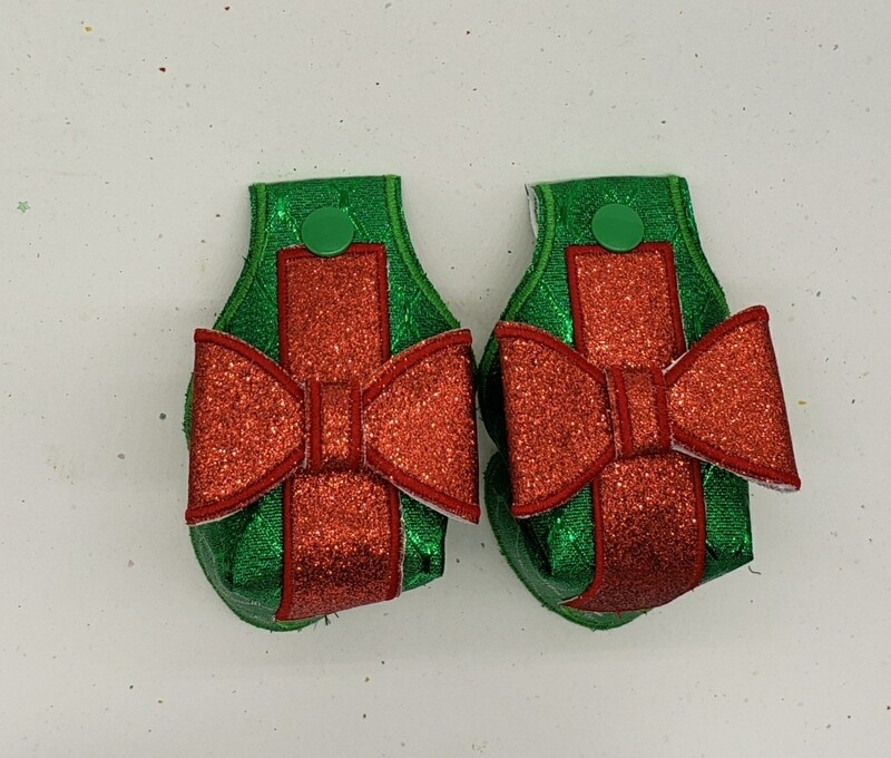 Christmas gift Toe guards in green metallic fabric with red glitter bows rts