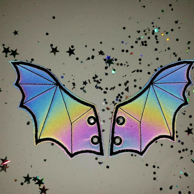 Bat skate wings in reflective rainbow fabric