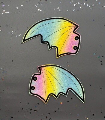 Bat skate wings larger style in reflective rainbow fabric rts