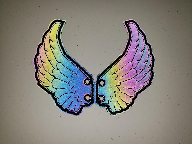 Angel skate/shoe wings in reflective fabrics