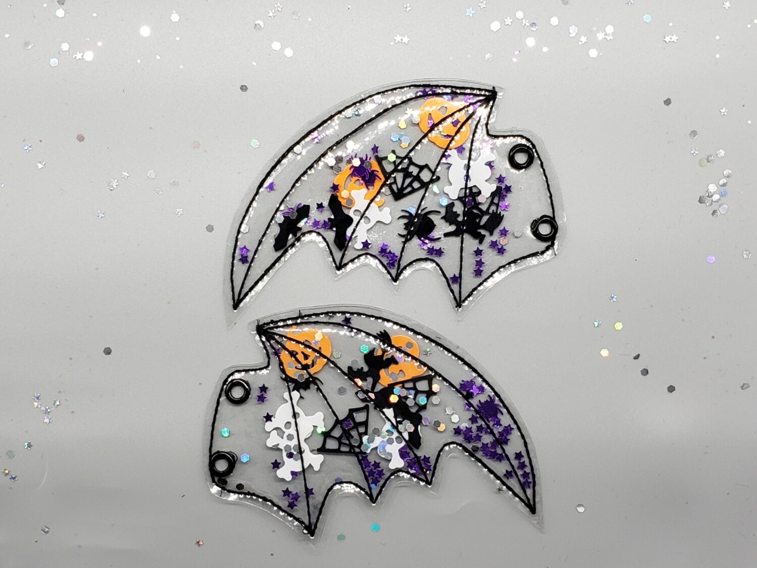 Transparent Bat wings larger size shoe wings with glitter shapes inside