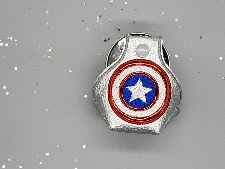 Captain America shield on silver metallic rts