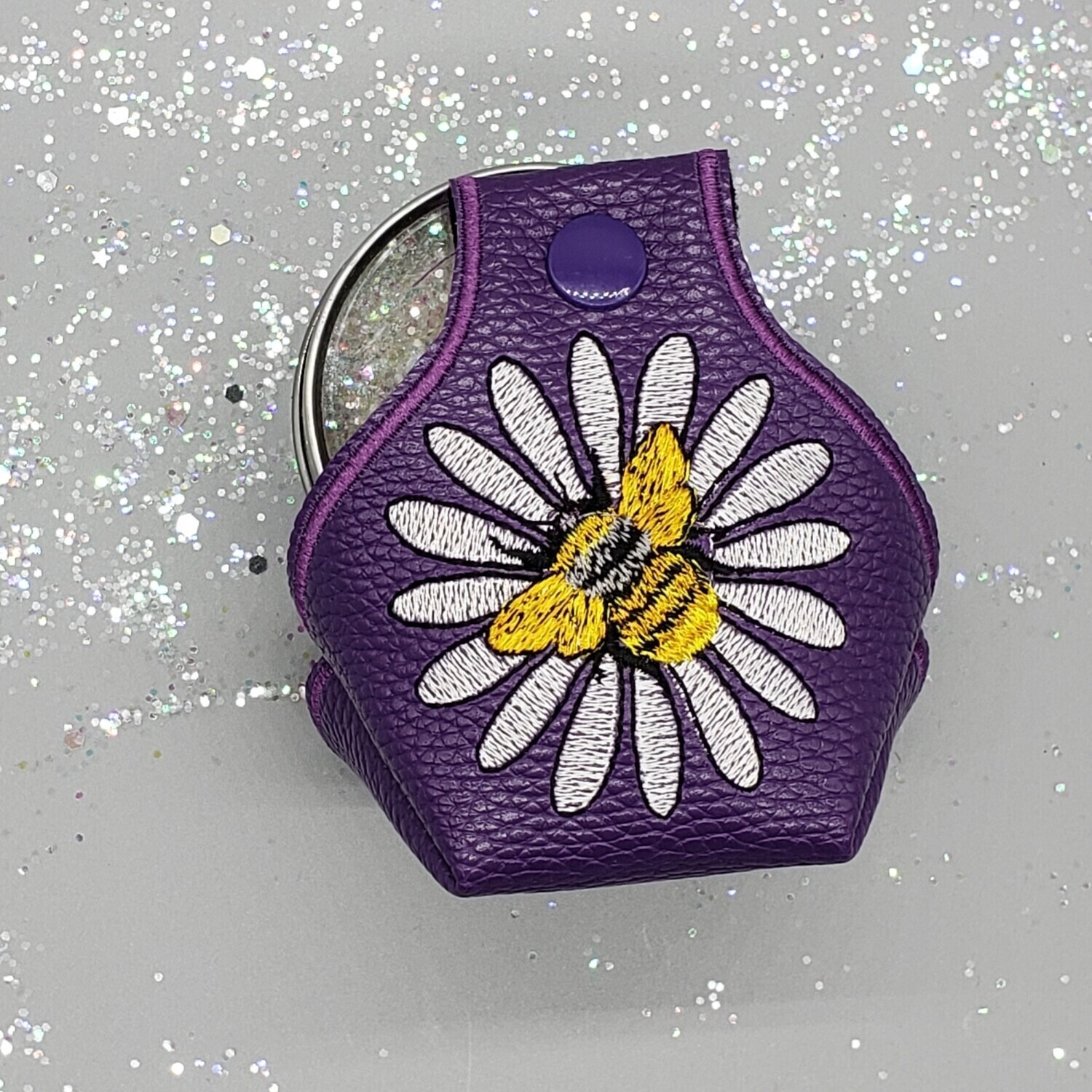 White flower and bee on purple faux leather RTS