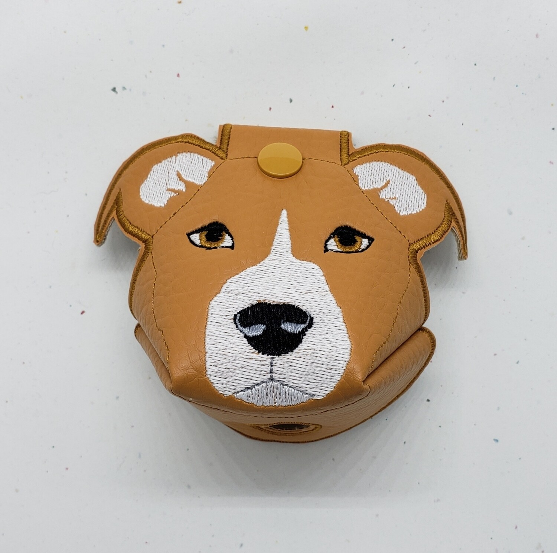 Tan pitbull - floppy ears on tan faux leather RTS