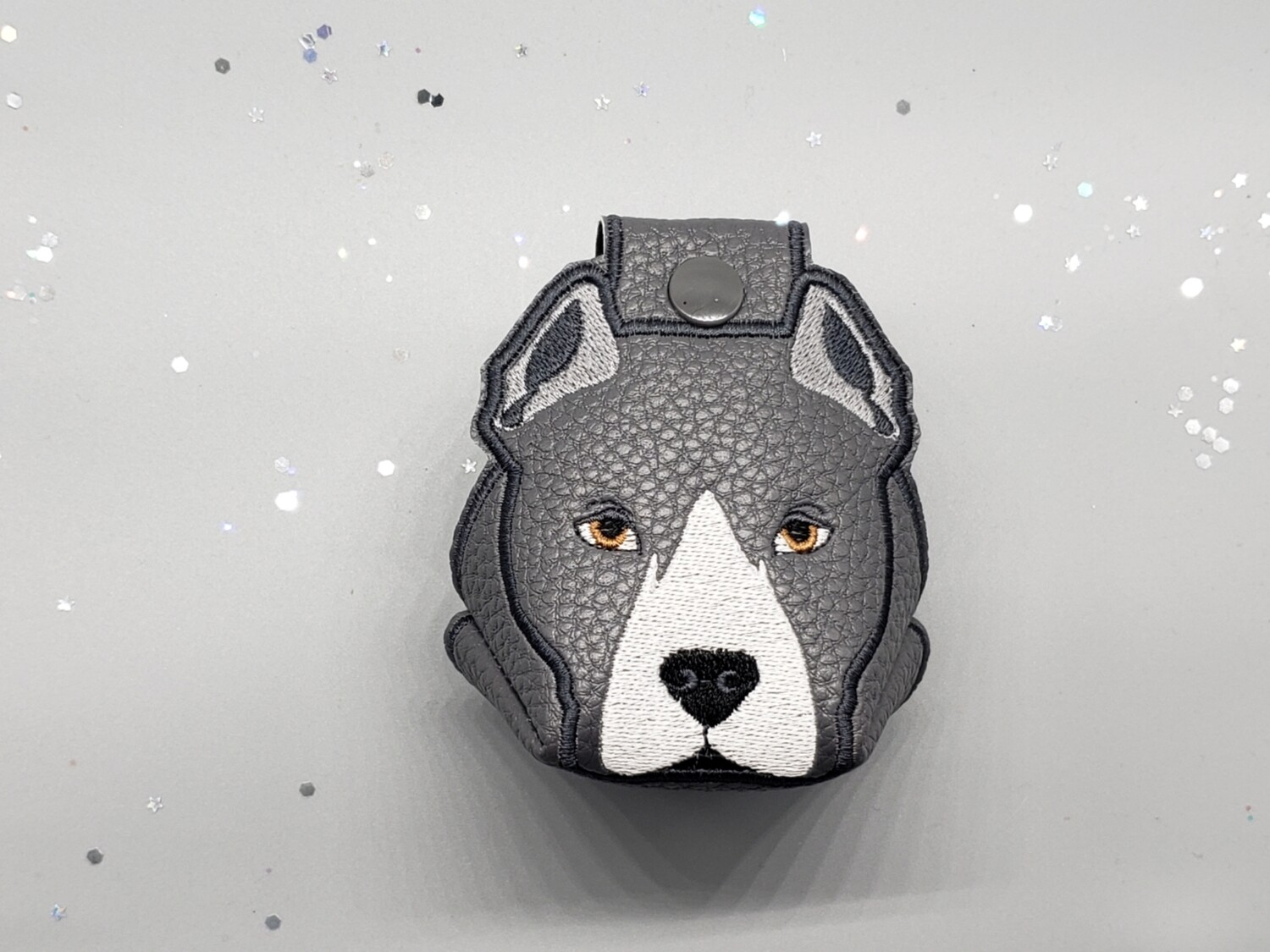 Pitbull - cropped ears on dark grey faux leather RTS