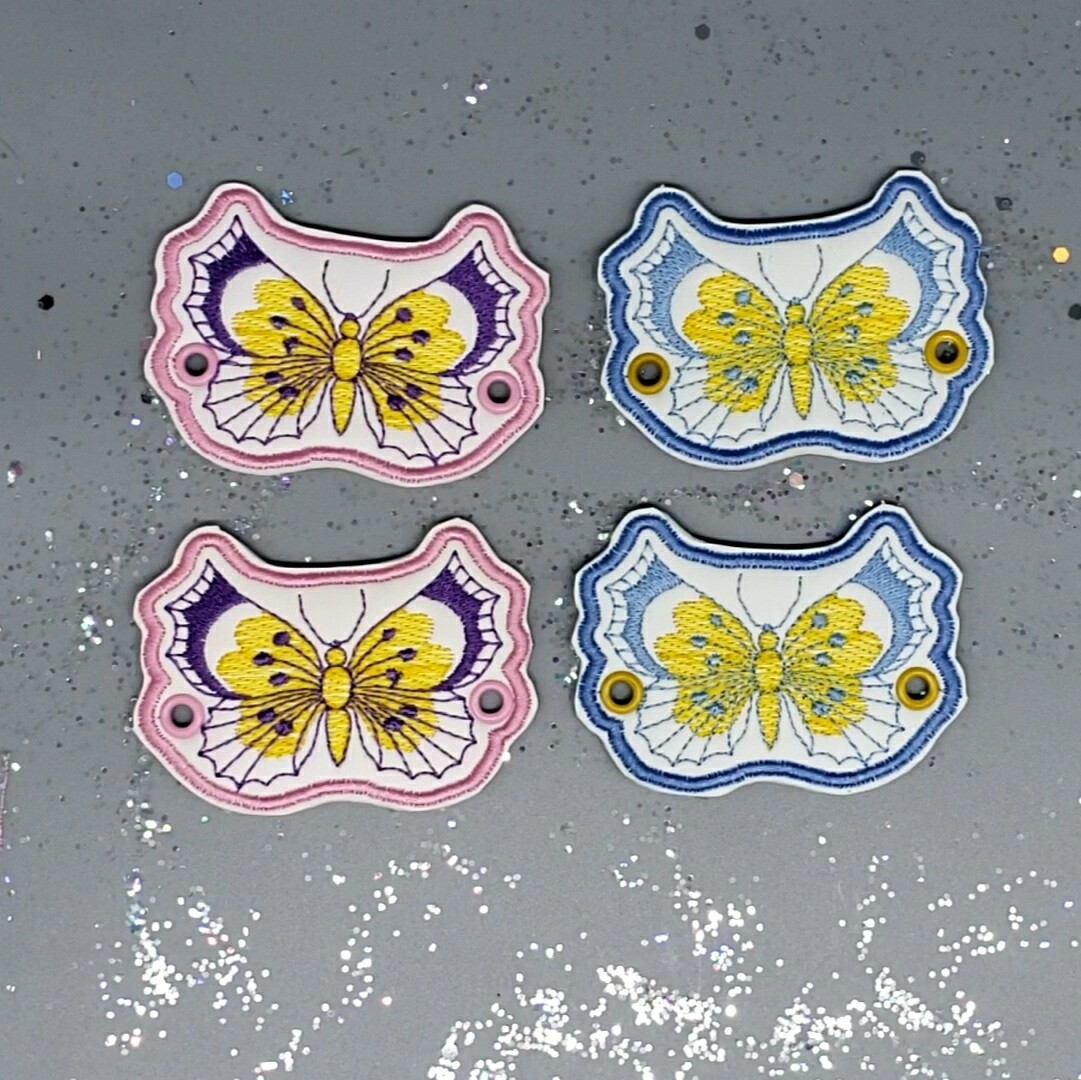 Butterfly pair lace accessories yellow/blue on blue or purple and yellow on pink uv changing faux leather