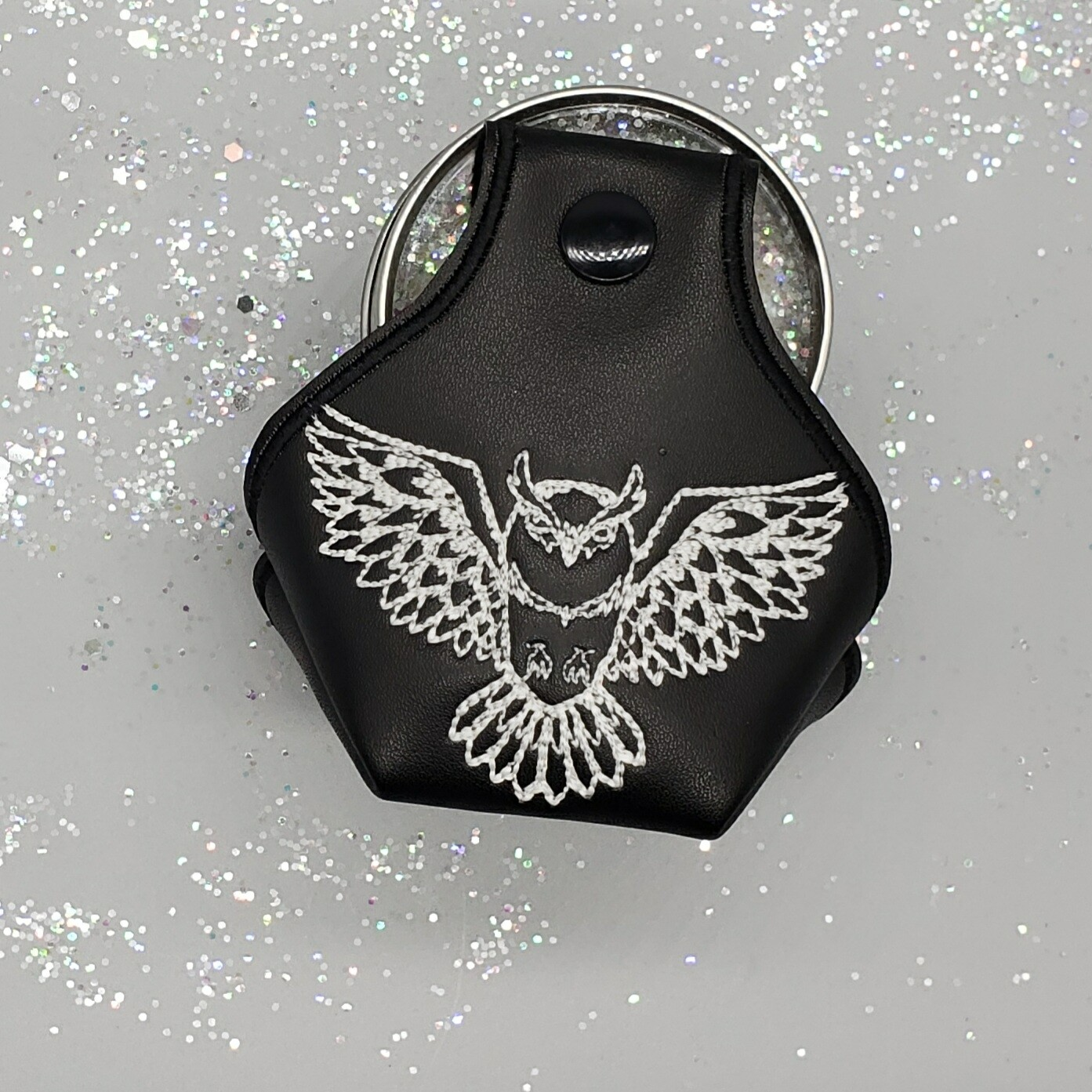 Owl embroidery in glow thread on black toe guard RTS