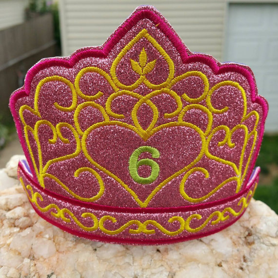 Birthday crown Tiara headband slider machine embroidery design